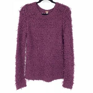 Free People Purple Textured Pullover Sweater
